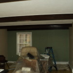 Finished w/ stained beams